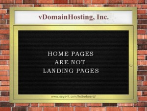 Homepages are not Landing pages.